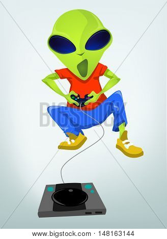 Cartoon Character Funny Alien Isolated on Grey Gradient Background. Gamer.
