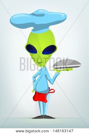 Cartoon Character Funny Alien Isolated on Grey Gradient Background. Chef.