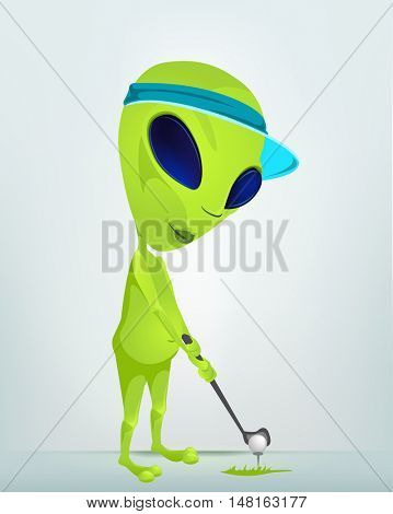 Cartoon Character Funny Alien Isolated on Grey Gradient Background.Golf.