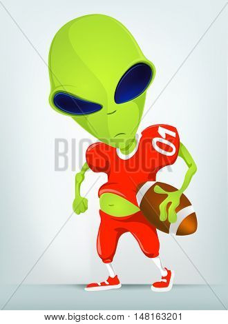 Cartoon Character Funny Alien Isolated on Grey Gradient Background. Rugby.