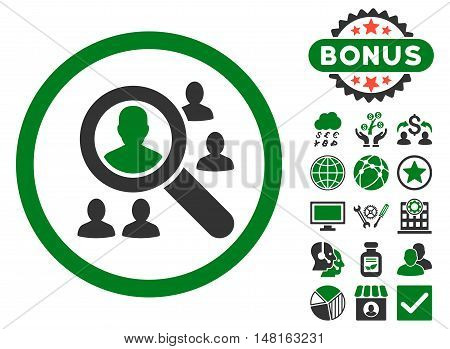 Explore Patients icon with bonus design elements. Vector illustration style is flat iconic bicolor symbols, green and gray colors, white background.