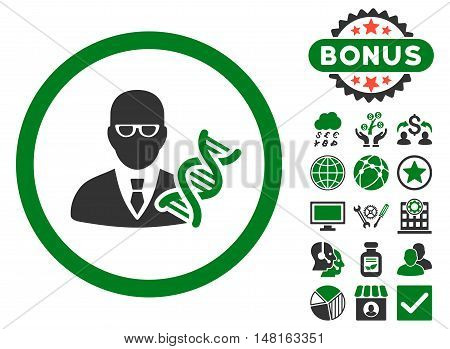 Genetic Engineer icon with bonus images. Vector illustration style is flat iconic bicolor symbols, green and gray colors, white background.