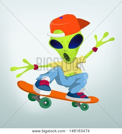Cartoon Character Funny Alien Isolated on Grey Gradient Background. Skateboarding.