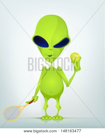 Cartoon Character Funny Alien Isolated on Grey Gradient Background. Tennis.
