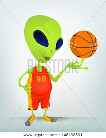 Cartoon Character Funny Alien Isolated on Grey Gradient Background. Basketball.