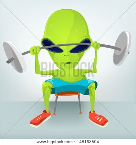 Cartoon Character Funny Alien Isolated on Grey Gradient Background. Gym.