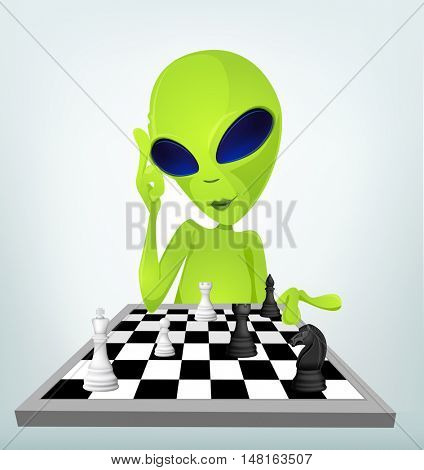 Cartoon Character Funny Alien Isolated on Grey Gradient Background. Chessplayer.