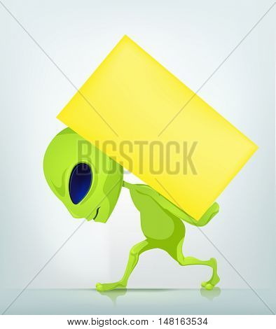 Cartoon Character Funny Alien Isolated on Grey Gradient Background. Delivery.