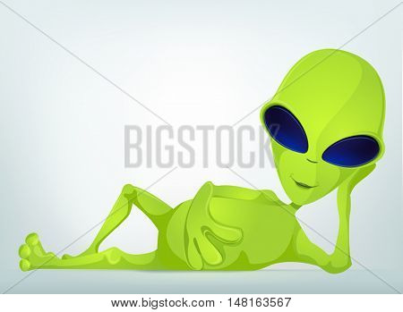 Cartoon Character Funny Alien Isolated on Grey Gradient Background. Relaxation.