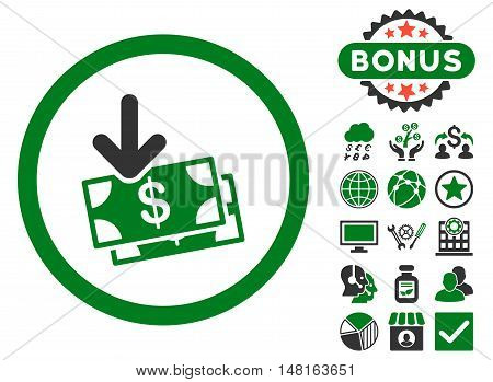 Get Banknotes icon with bonus images. Vector illustration style is flat iconic bicolor symbols, green and gray colors, white background.
