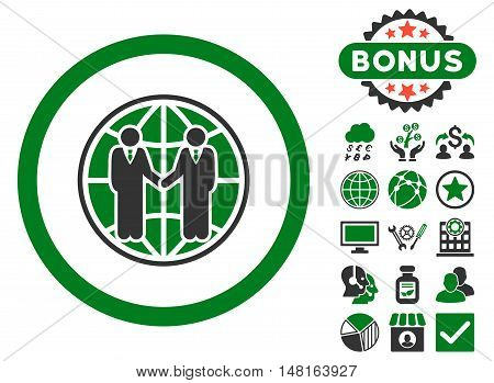 Global Partnership icon with bonus pictogram. Vector illustration style is flat iconic bicolor symbols, green and gray colors, white background.