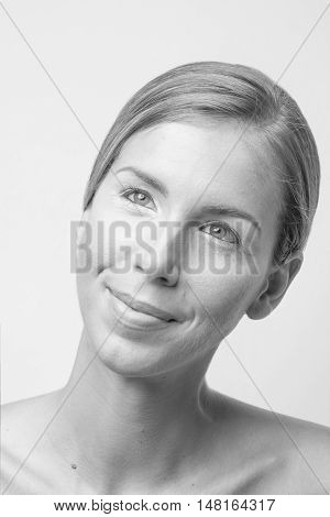 Titled Head Face Beauty Young Woman Black And White