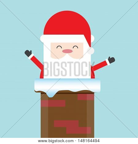 Christmas Santa Claus in Chimney. Flat design for business financial marketing advertising web sale advertisement poster banner in concept cartoon illustration.