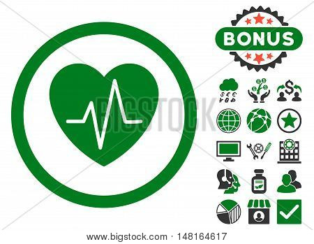 Heart Ekg icon with bonus design elements. Vector illustration style is flat iconic bicolor symbols, green and gray colors, white background.