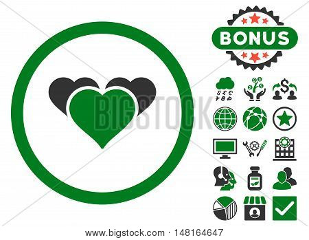 Heart Favourites icon with bonus symbols. Vector illustration style is flat iconic bicolor symbols, green and gray colors, white background.