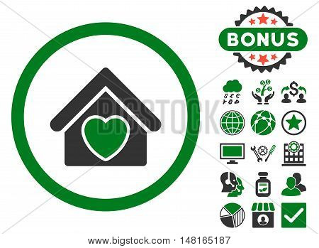 Hospice icon with bonus design elements. Vector illustration style is flat iconic bicolor symbols, green and gray colors, white background.