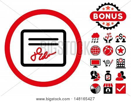 Agreement icon with bonus pictures. Vector illustration style is flat iconic bicolor symbols, intensive red and black colors, white background.