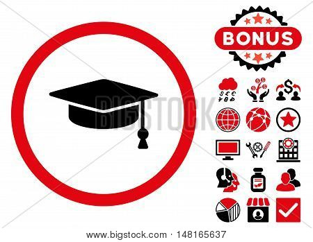 Graduation Cap icon with bonus elements. Vector illustration style is flat iconic bicolor symbols, intensive red and black colors, white background.