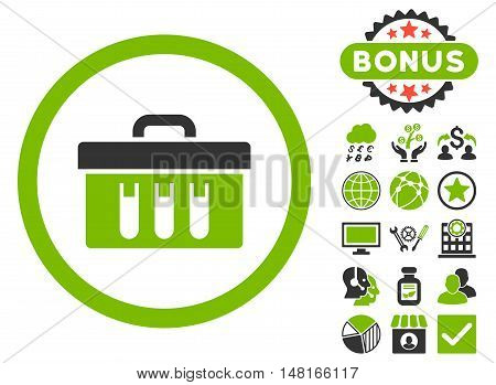 Analysis Box icon with bonus elements. Vector illustration style is flat iconic bicolor symbols, eco green and gray colors, white background.