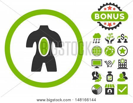 Anatomy icon with bonus pictures. Vector illustration style is flat iconic bicolor symbols, eco green and gray colors, white background.