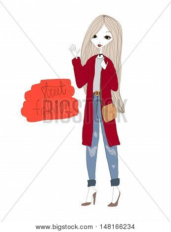 Street Fashion Illustration with a Fashion Girl Wearing Stylish Clothes. Colorful Street Fashion Typography Vector Illustration. Street Fashion in the City. Modern Life of the Young Fashion Girl