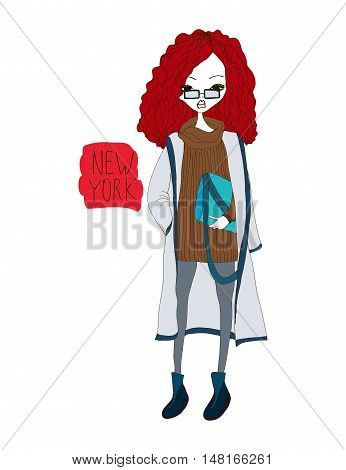 New York Fashion Illustration with a Fashion Girl Wearing Stylish Clothes. Colorful New York Typography with Hearts. Fashion New Yorker Woman in the City