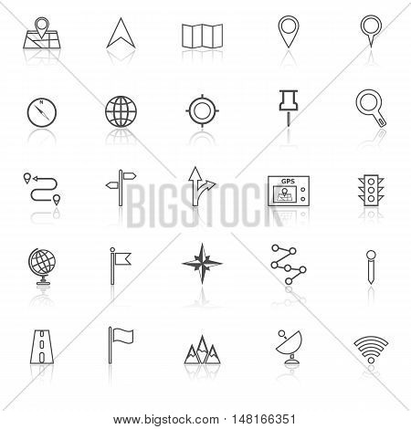 Navigation line icons with reflect on white background, stock vector