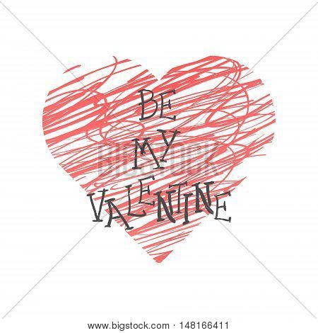 Valentine Day Lettering Red Heart. Vector illustration