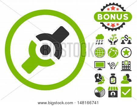 Artificial Joint icon with bonus images. Vector illustration style is flat iconic bicolor symbols, eco green and gray colors, white background.