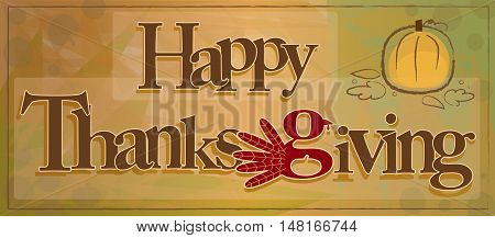 Decorative happy Thanksgiving text on abstract background. Eps10