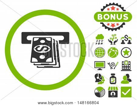 Atm Cashout icon with bonus pictogram. Vector illustration style is flat iconic bicolor symbols, eco green and gray colors, white background.