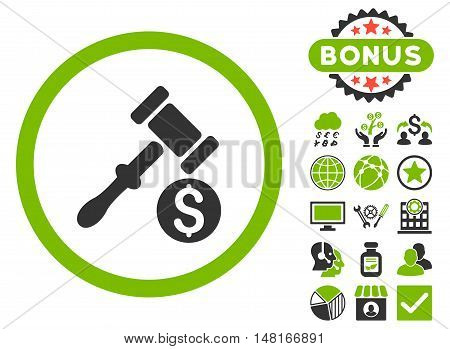 Auction icon with bonus symbols. Vector illustration style is flat iconic bicolor symbols, eco green and gray colors, white background.