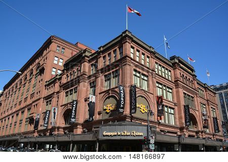 MONTREAL CANADA 09 16 2016: The Hudson's Bay Company (HBC) store, commonly referred to as The Bay is a Canadian retail business group.