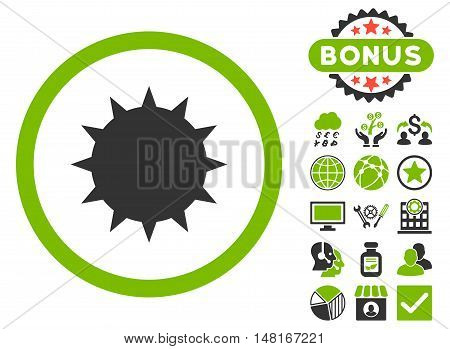 Bacterium icon with bonus images. Vector illustration style is flat iconic bicolor symbols, eco green and gray colors, white background.