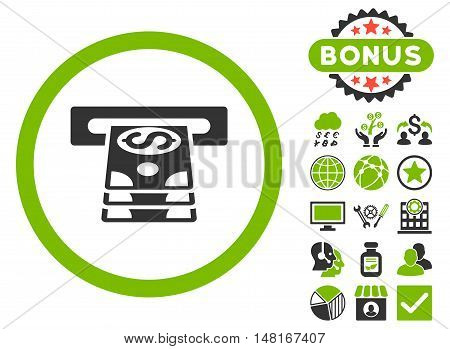 Bank Cashpoint icon with bonus design elements. Vector illustration style is flat iconic bicolor symbols, eco green and gray colors, white background.
