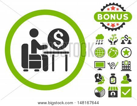 Banker Office icon with bonus pictures. Vector illustration style is flat iconic bicolor symbols, eco green and gray colors, white background.