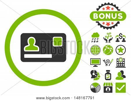 Banking Card icon with bonus symbols. Vector illustration style is flat iconic bicolor symbols, eco green and gray colors, white background.