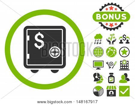 Banking Safe icon with bonus pictogram. Vector illustration style is flat iconic bicolor symbols, eco green and gray colors, white background.