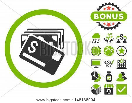 Banknotes and Card icon with bonus symbols. Vector illustration style is flat iconic bicolor symbols, eco green and gray colors, white background.