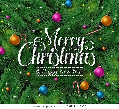 Merry christmas greetings title in a green pine leaves background with colorful christmas ornaments and decoration hanging. Vector illustration.