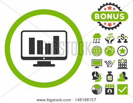 Bar Chart Monitoring icon with bonus design elements. Vector illustration style is flat iconic bicolor symbols, eco green and gray colors, white background.