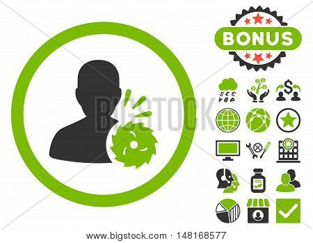Body Execution icon with bonus pictures. Vector illustration style is flat iconic bicolor symbols, eco green and gray colors, white background.