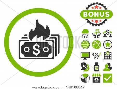 Burn Banknotes icon with bonus elements. Vector illustration style is flat iconic bicolor symbols, eco green and gray colors, white background.