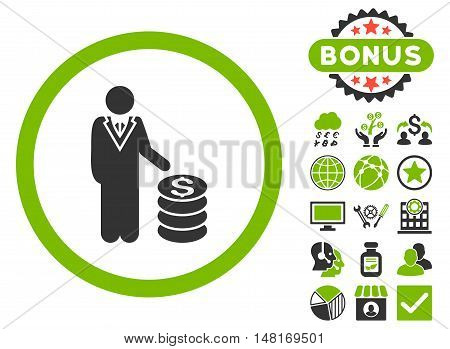 Businessman icon with bonus images. Vector illustration style is flat iconic bicolor symbols, eco green and gray colors, white background.