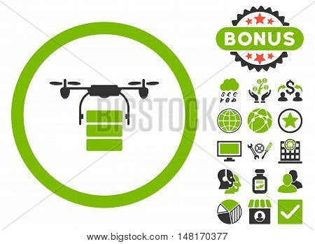 Cargo Drone icon with bonus images. Vector illustration style is flat iconic bicolor symbols, eco green and gray colors, white background.