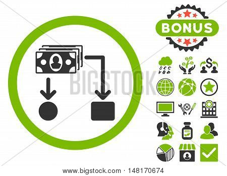 Cashflow icon with bonus elements. Vector illustration style is flat iconic bicolor symbols, eco green and gray colors, white background.