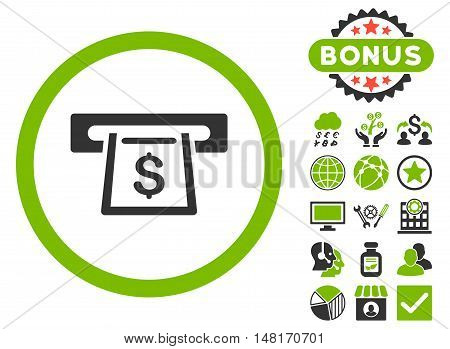 Cashout Slot icon with bonus symbols. Vector illustration style is flat iconic bicolor symbols, eco green and gray colors, white background.
