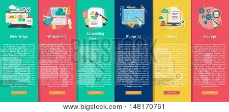 Creative Process Vertical Banner Concept   Set of great vertical banner flat design illustration concepts for business, creative idea, concept, marketing and much more.