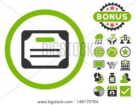 Certificate icon with bonus symbols. Vector illustration style is flat iconic bicolor symbols, eco green and gray colors, white background.