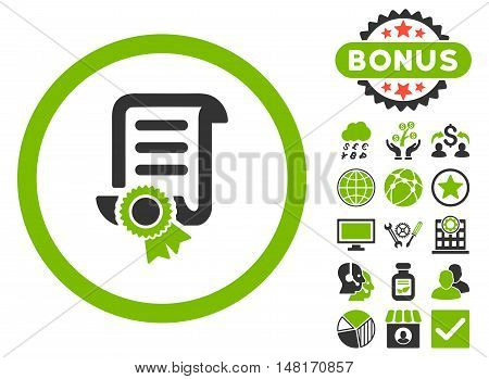 Certified Scroll Document icon with bonus design elements. Vector illustration style is flat iconic bicolor symbols, eco green and gray colors, white background.